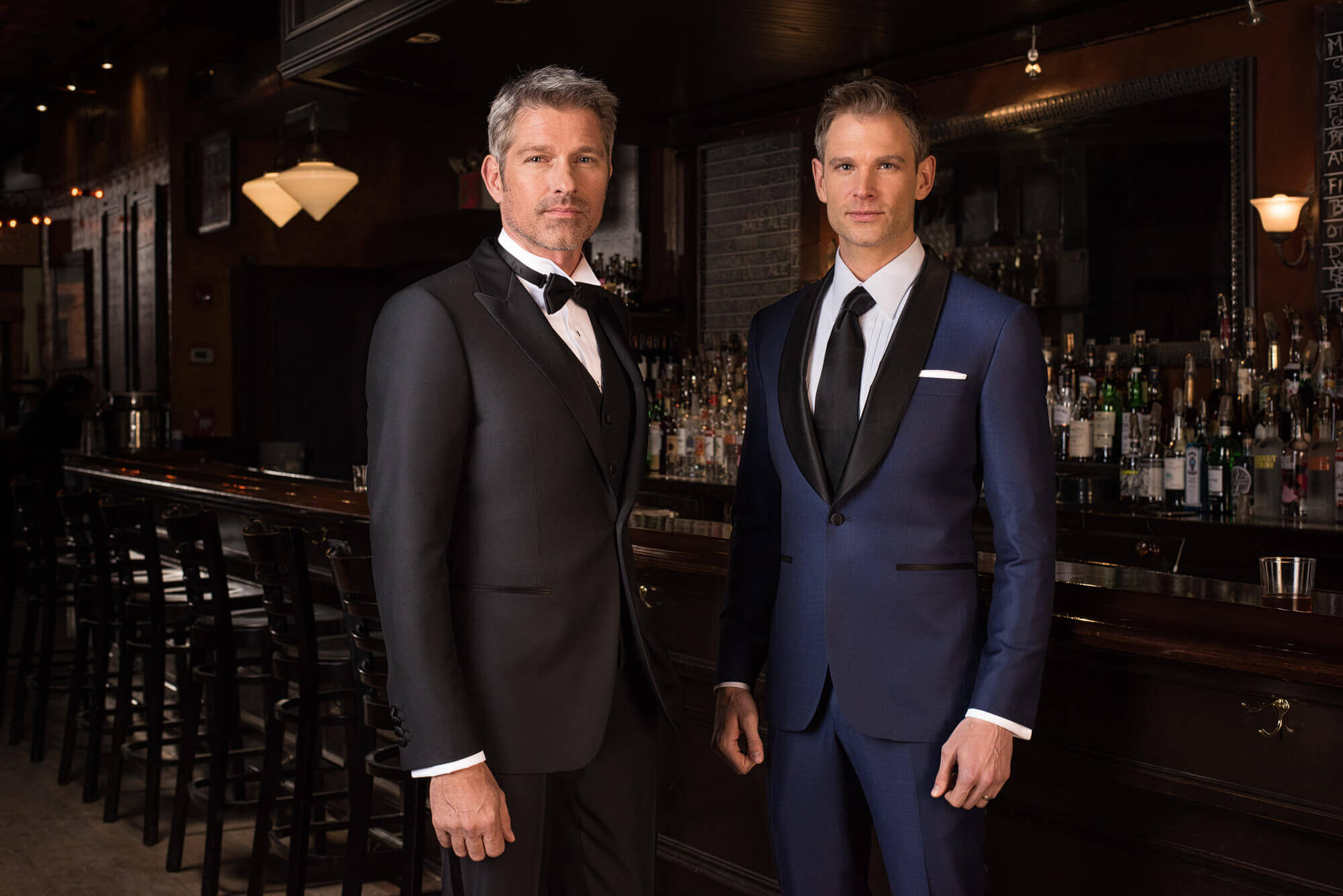 two men in a custom tuxedo